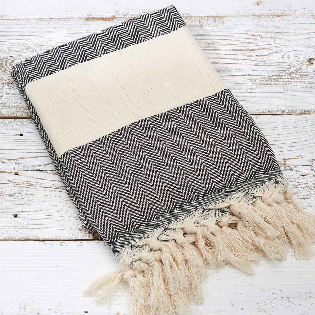 Hammam Towel / Bath Towel - Black and White Herringbone