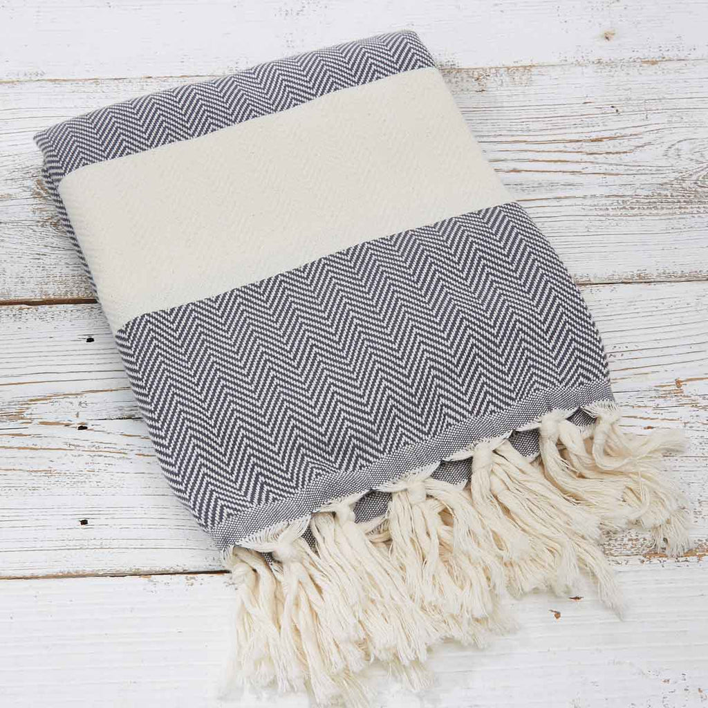 Hammam Towel / Bath Towel - Anthracite Grey Herringbone - Tolly McRae