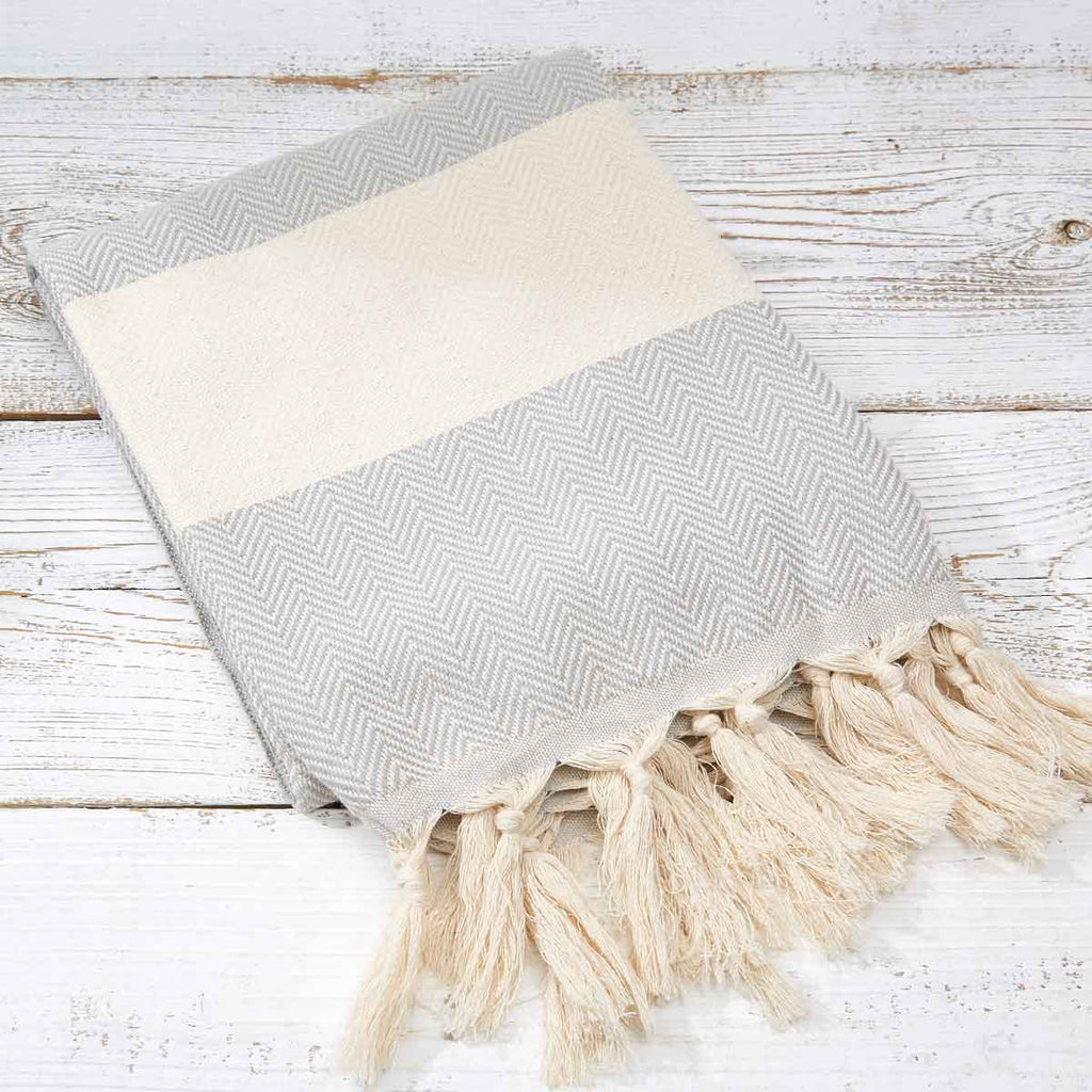Hammam Towel / Bath Towel - Light Grey Herringbone