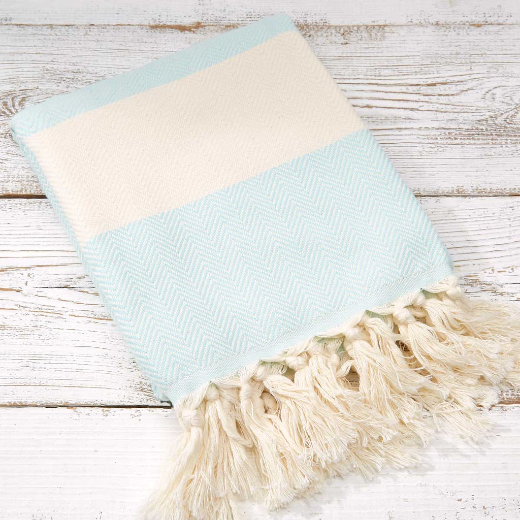 Hammam Towel / Bath Towel - Mint Green Herringbone