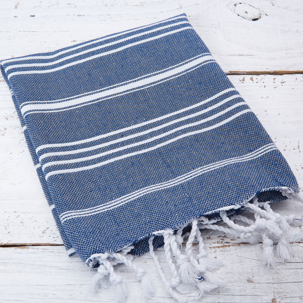Blue Striped Hand Towel / Kitchen Towel