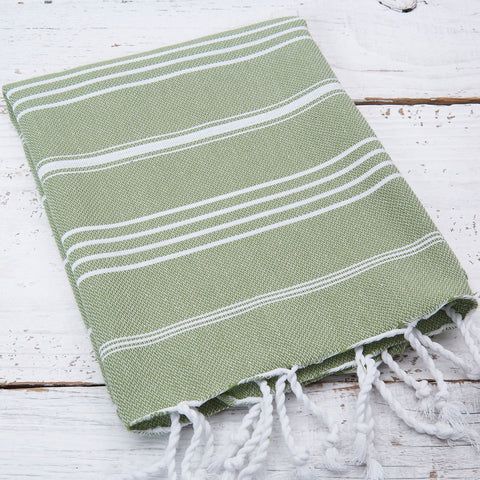 Sage Green Striped Hand Towel / Kitchen Towel