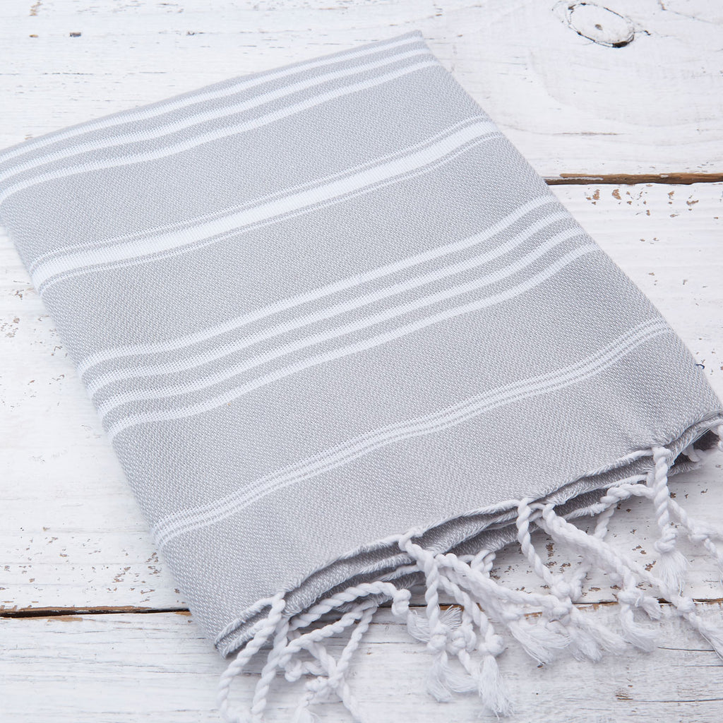 Light Grey Striped Hand Towel