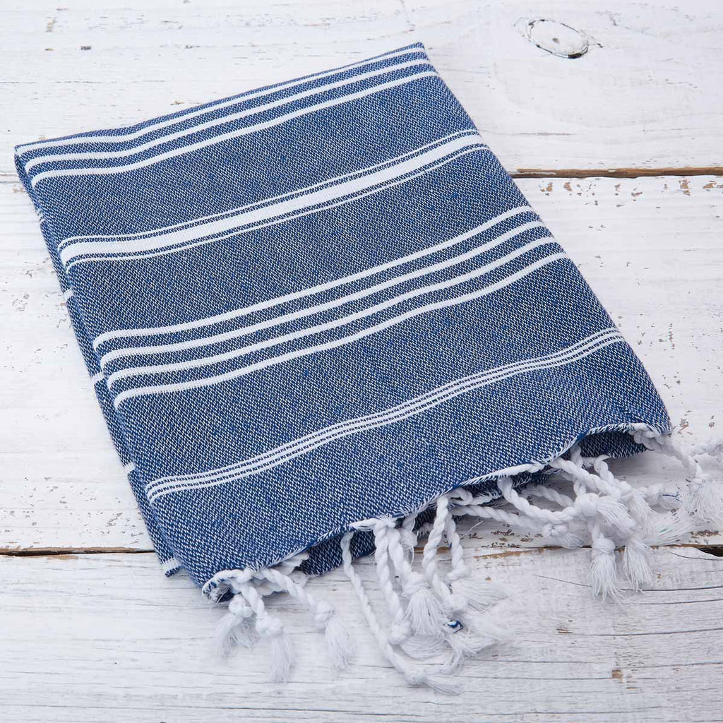 Navy Blue Striped Hand Towel - Tolly McRae