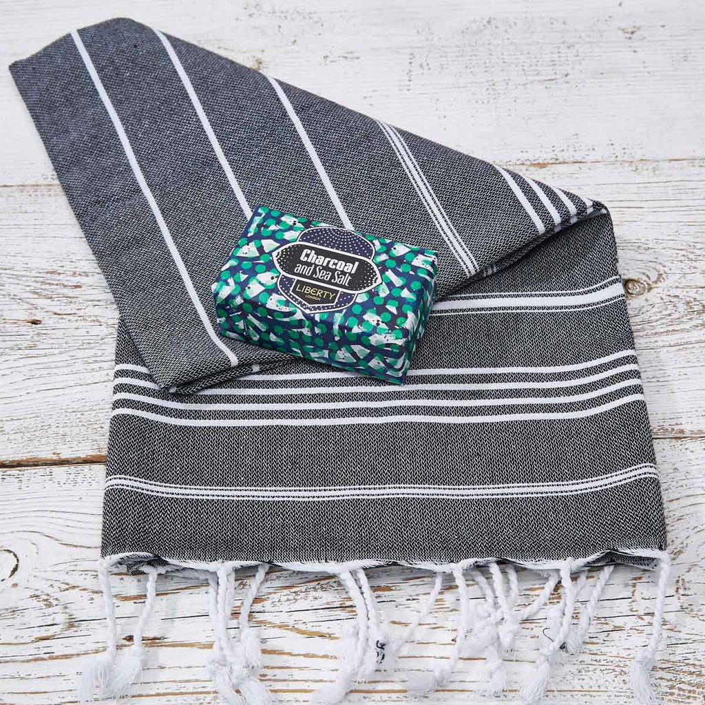 Black and White Striped Hand Towel