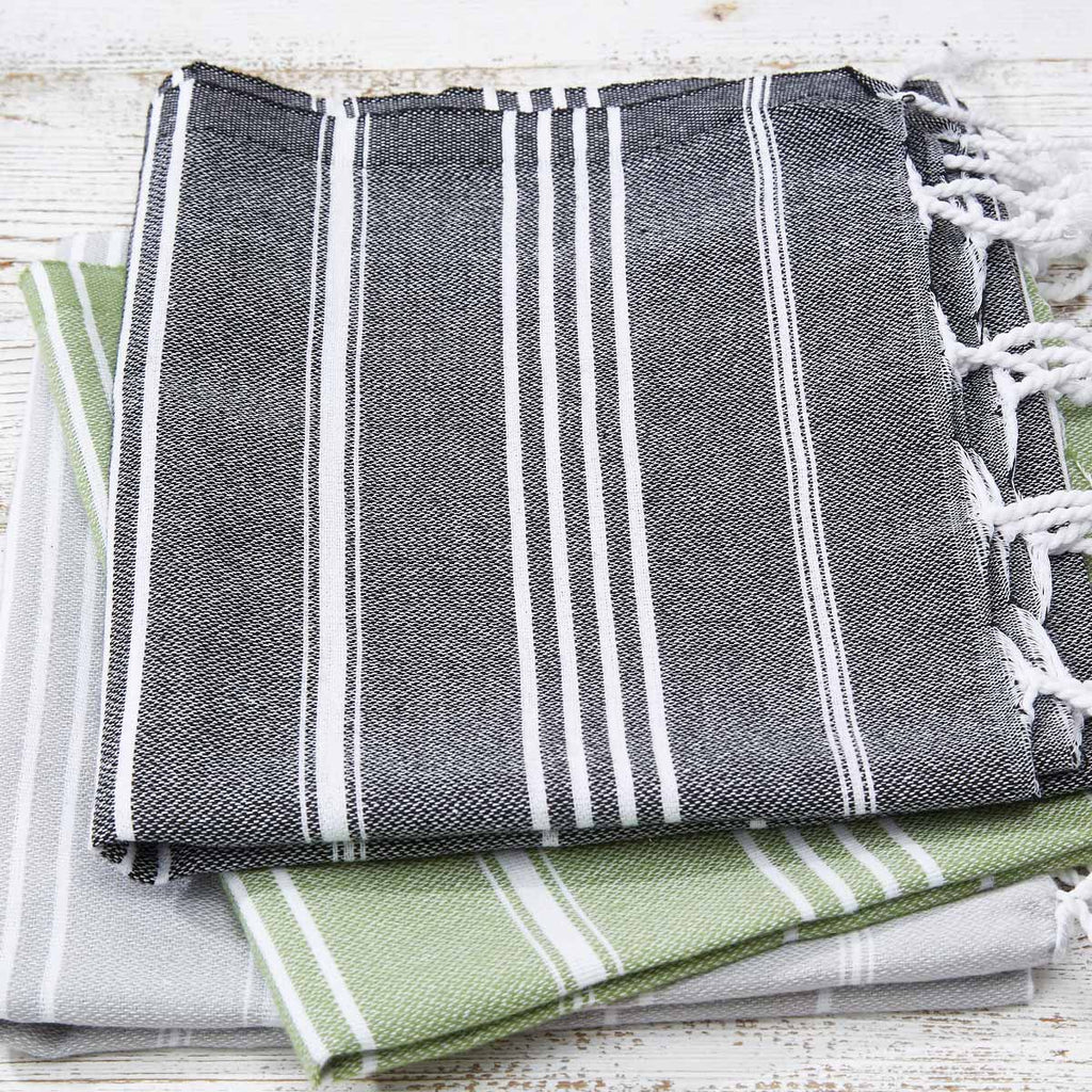 Sage Green & Grey 3 Towel Bundle - Hand Towels / Kitchen Towels (2 Grey + 1 Green) - Tolly McRae