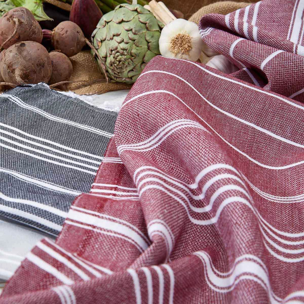 Beetroot Burgundy Striped Hand Towel / Kitchen Towel - Tolly McRae