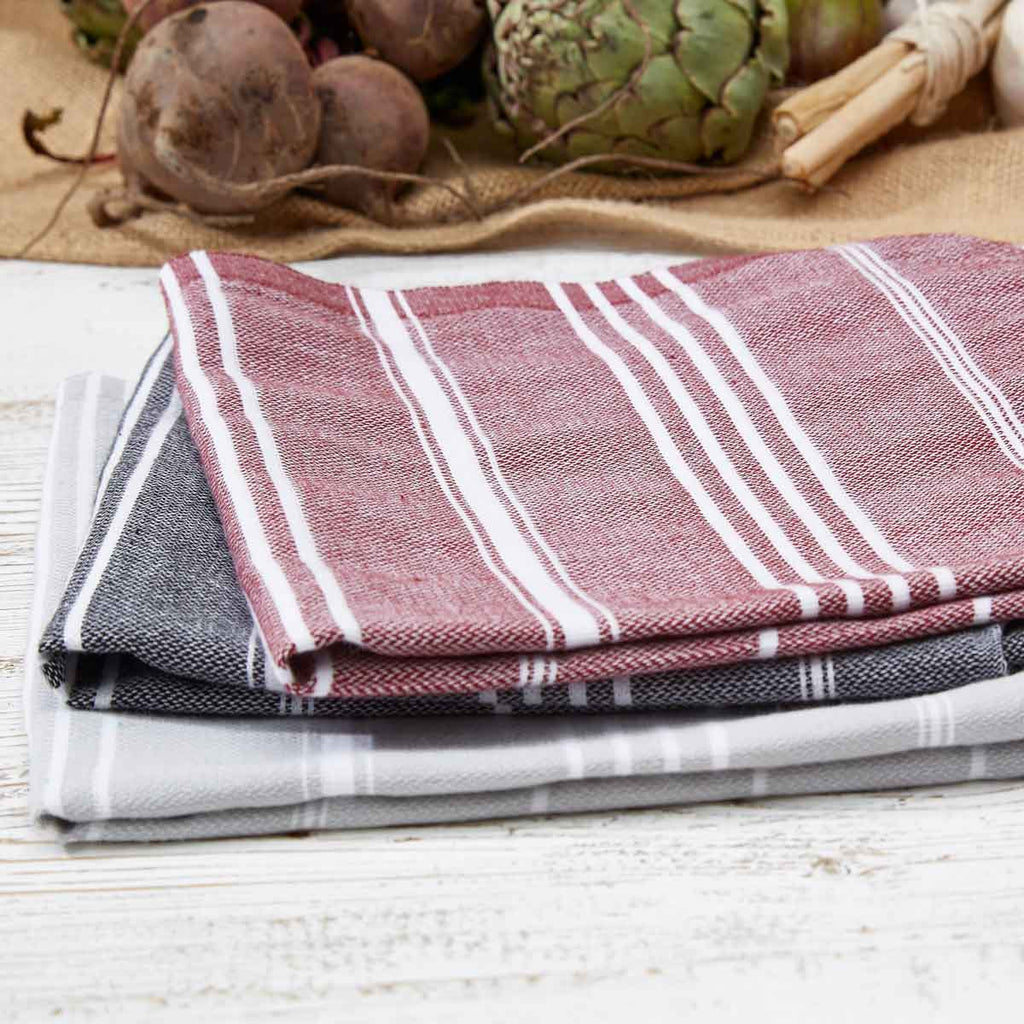 Black, Grey & Beetroot 3 Towel Bundle - Hand Towels / Kitchen Towels - Tolly McRae