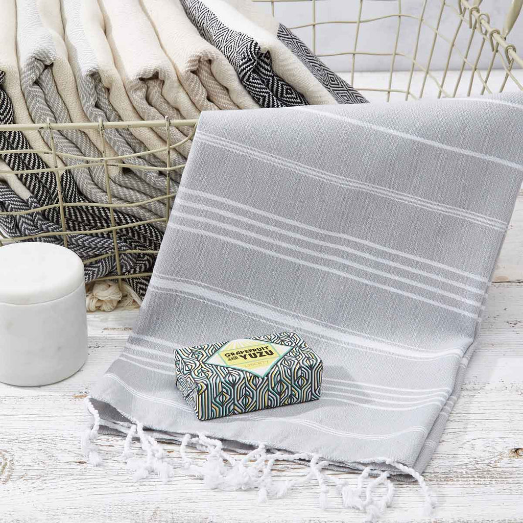 Light Grey Striped Hand Towel / Kitchen Towel - Tolly McRae