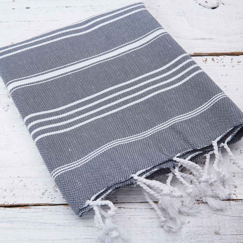 Anthracite Grey Striped Kitchen Towel / Hand Towel - Tolly McRae