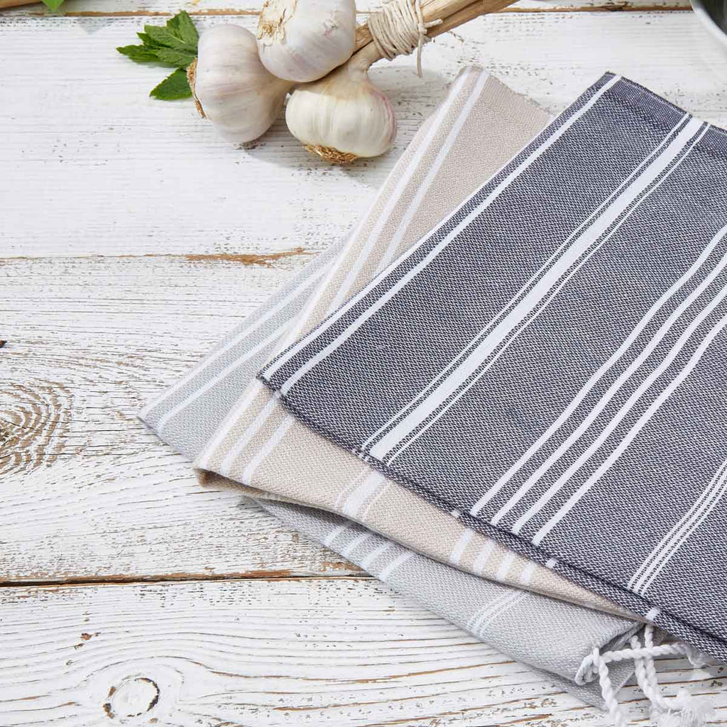 Grey & Beige 3 Towel Bundle - Hand Towels / Kitchen Towels (2 Grey + 1 Beige) - Tolly McRae
