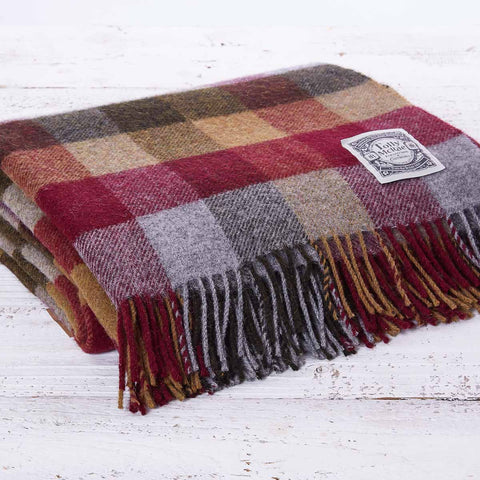 Checked Wool Throw - Berry Country Check - Tolly McRae