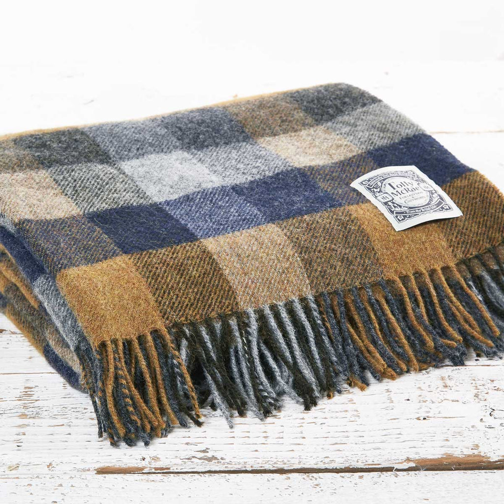 Blue Country Check Wool Throw - Tolly McRae