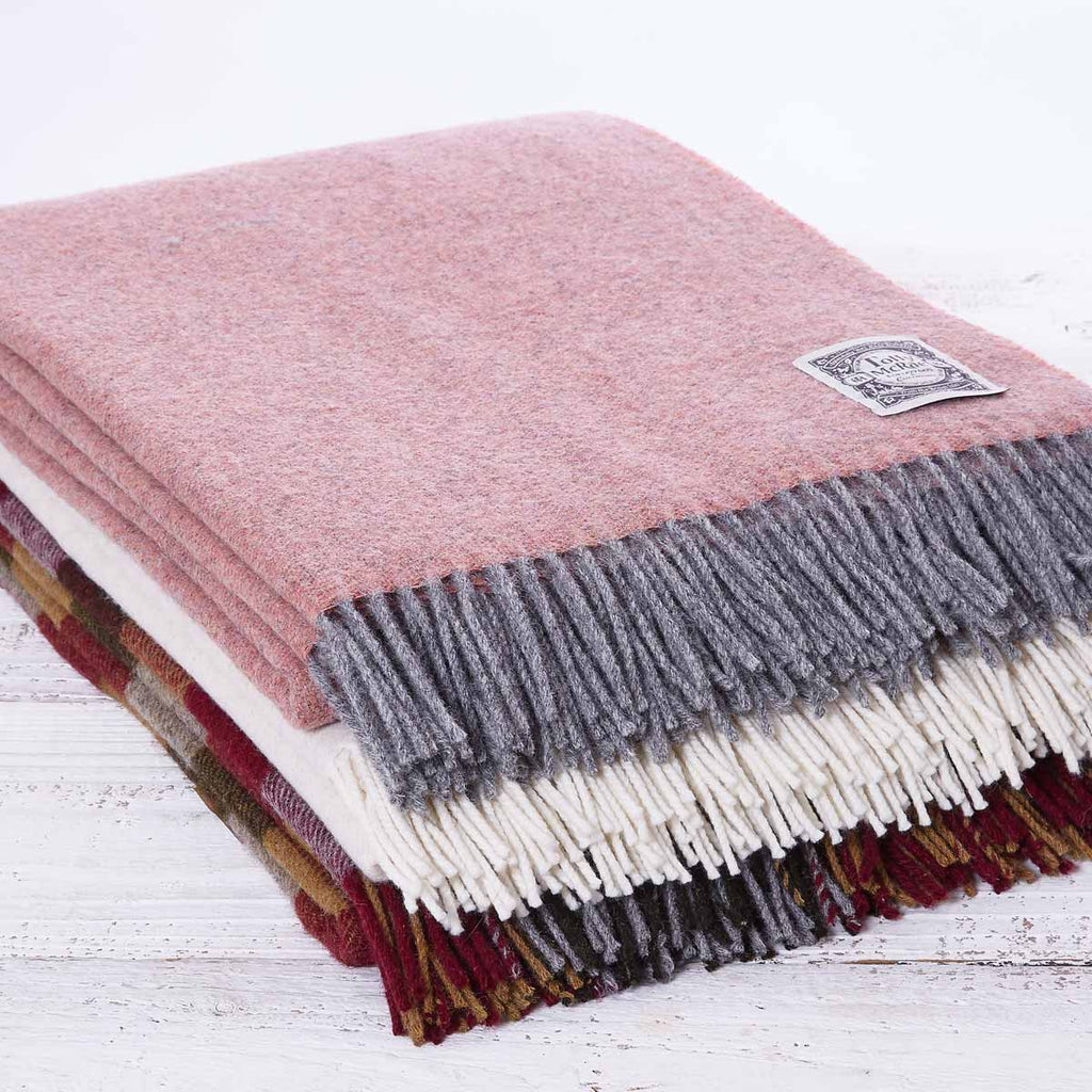 Dusky Peach Reversible Wool Throw - Tolly McRae