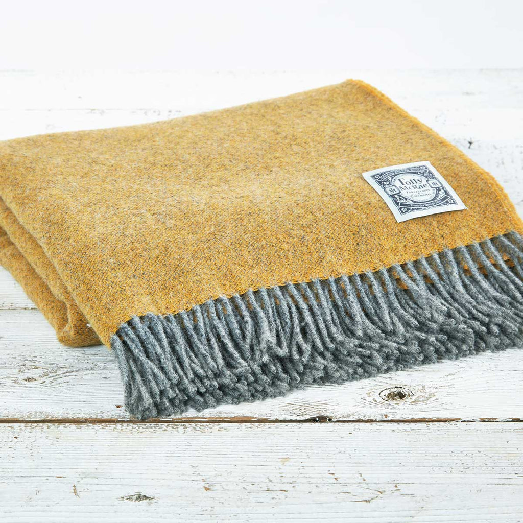 Yellow and Grey Reversible Wool Throw - Tolly McRae