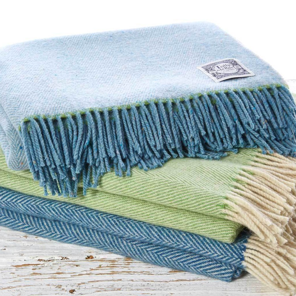 Pastel Blue Wool Throw - Tolly McRae