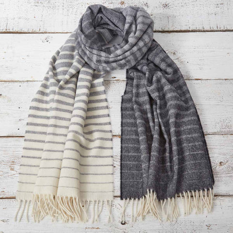 Blanket Scarf / Maxi Wrap / Pashmina - Black and White Ombré Striped - Tolly McRae
