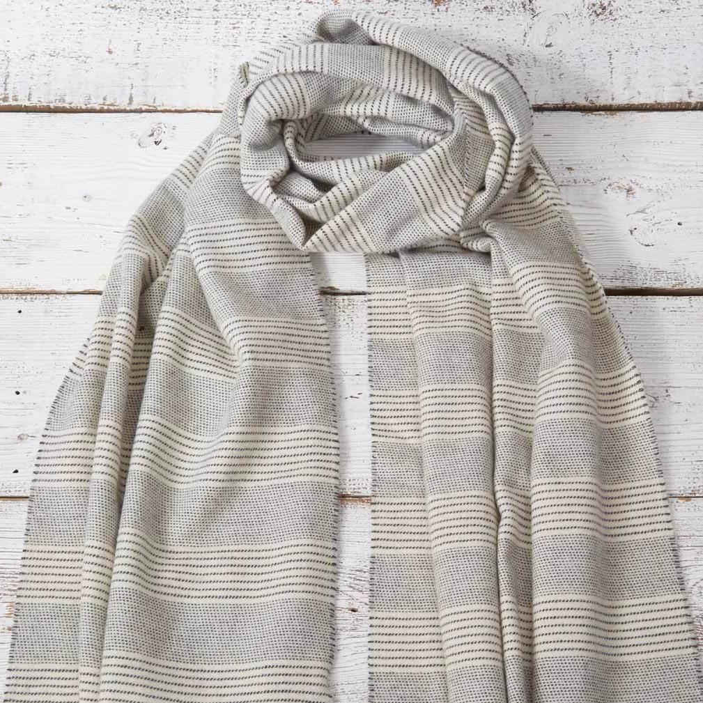 Wrap / Scarf / Pashmina - Chalk Stripe Alpaca Mix - Tolly McRae