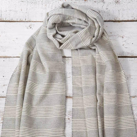 Blanket Scarf / Maxi Wrap / Pashmina - Chalk Stripe Alpaca Mix - Tolly McRae