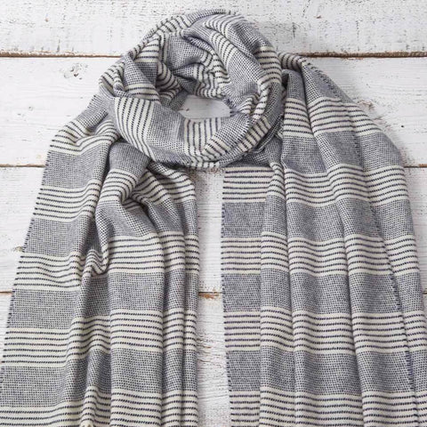 Blanket Scarf / Maxi Wrap / Pashmina - Navy Stripe Alpaca Mix - Tolly McRae