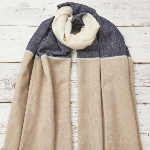Blanket Scarf / Wrap / Pashmina - Navy, Beige & Cream Colour Block