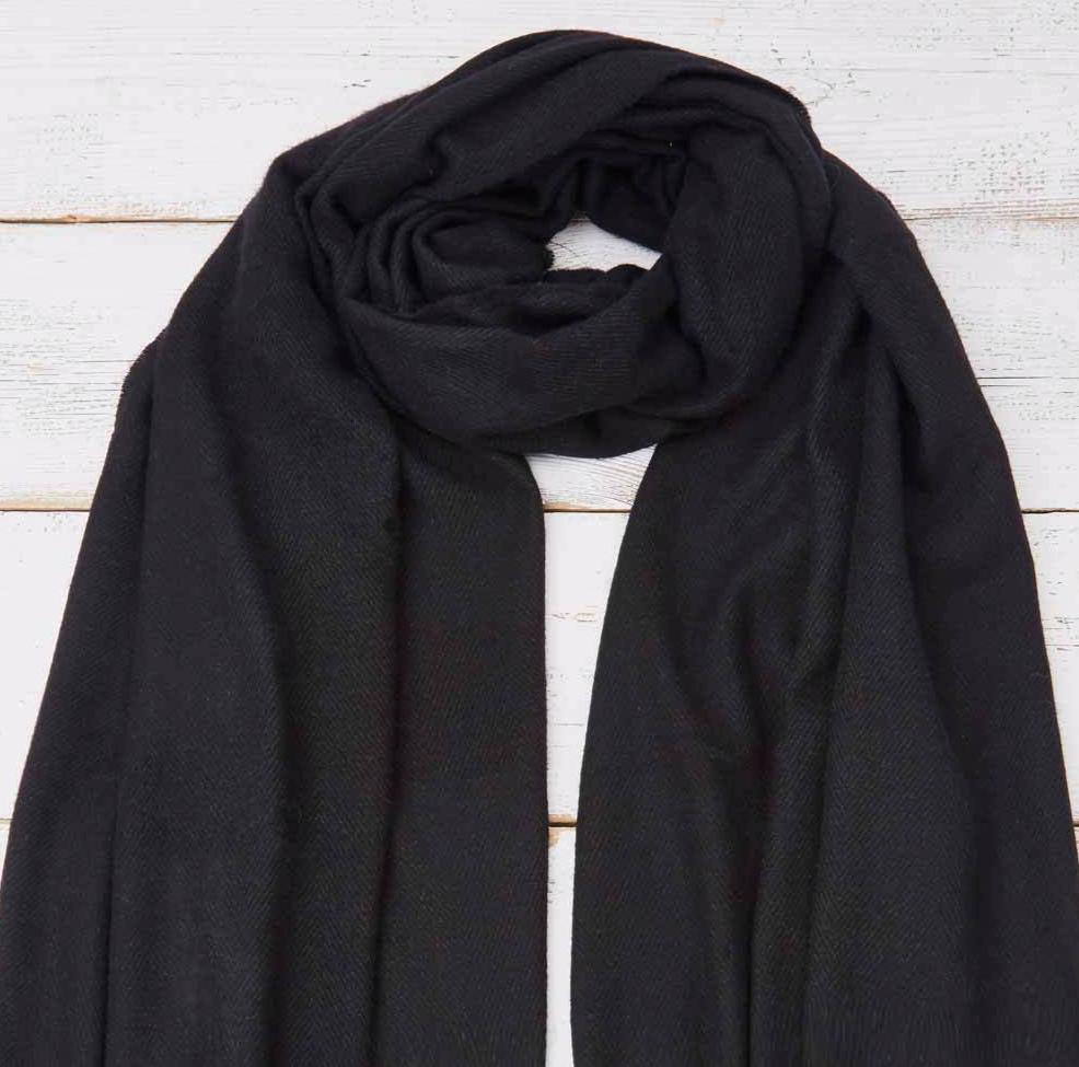 Black Wrap / Scarf / Pashmina - Cashmere Mix - Tolly McRae