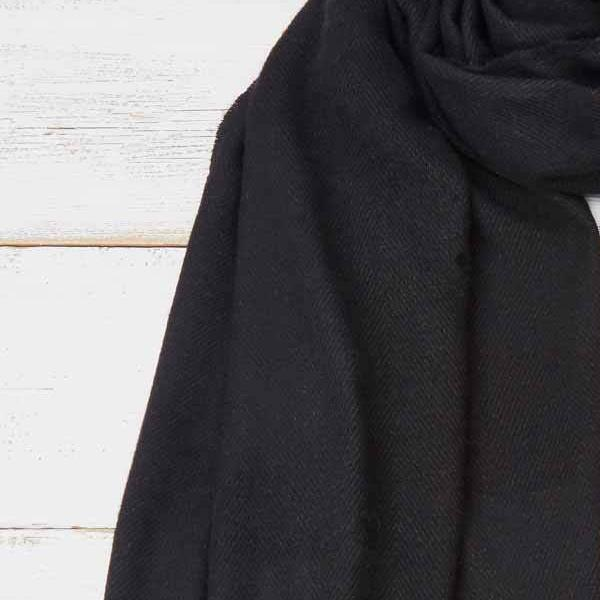 Black Blanket Scarf / Wrap / Pashmina - Cashmere Mix