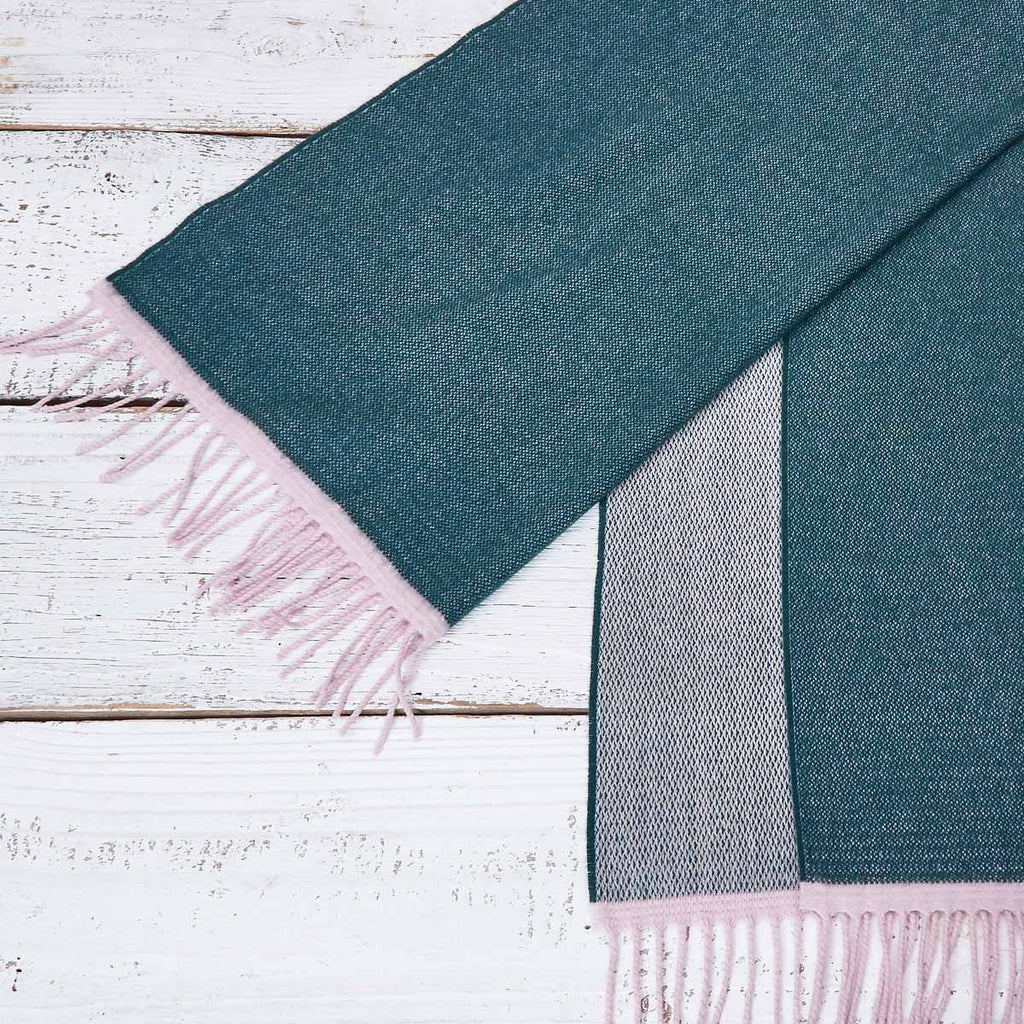 Large Cashmere Mix Green Scarf - Forest Green & Pink Reversible - Tolly McRae