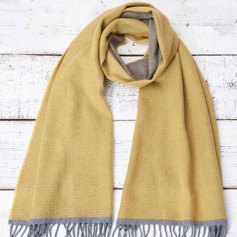 Large Cashmere Mix Mustard Yellow Scarf - Mustard & Grey Reversible