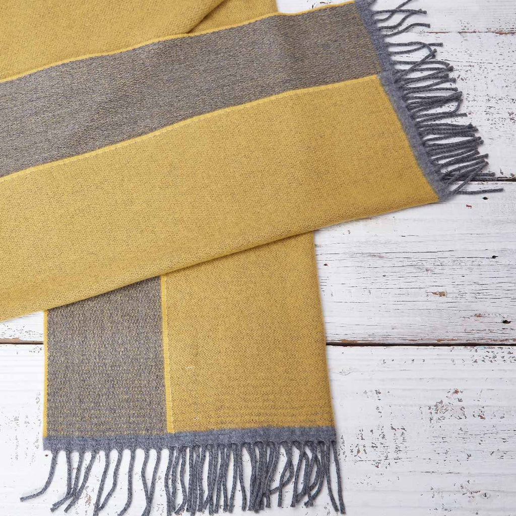Large Cashmere Mix Mustard Yellow Scarf - Mustard & Grey Reversible - Tolly McRae