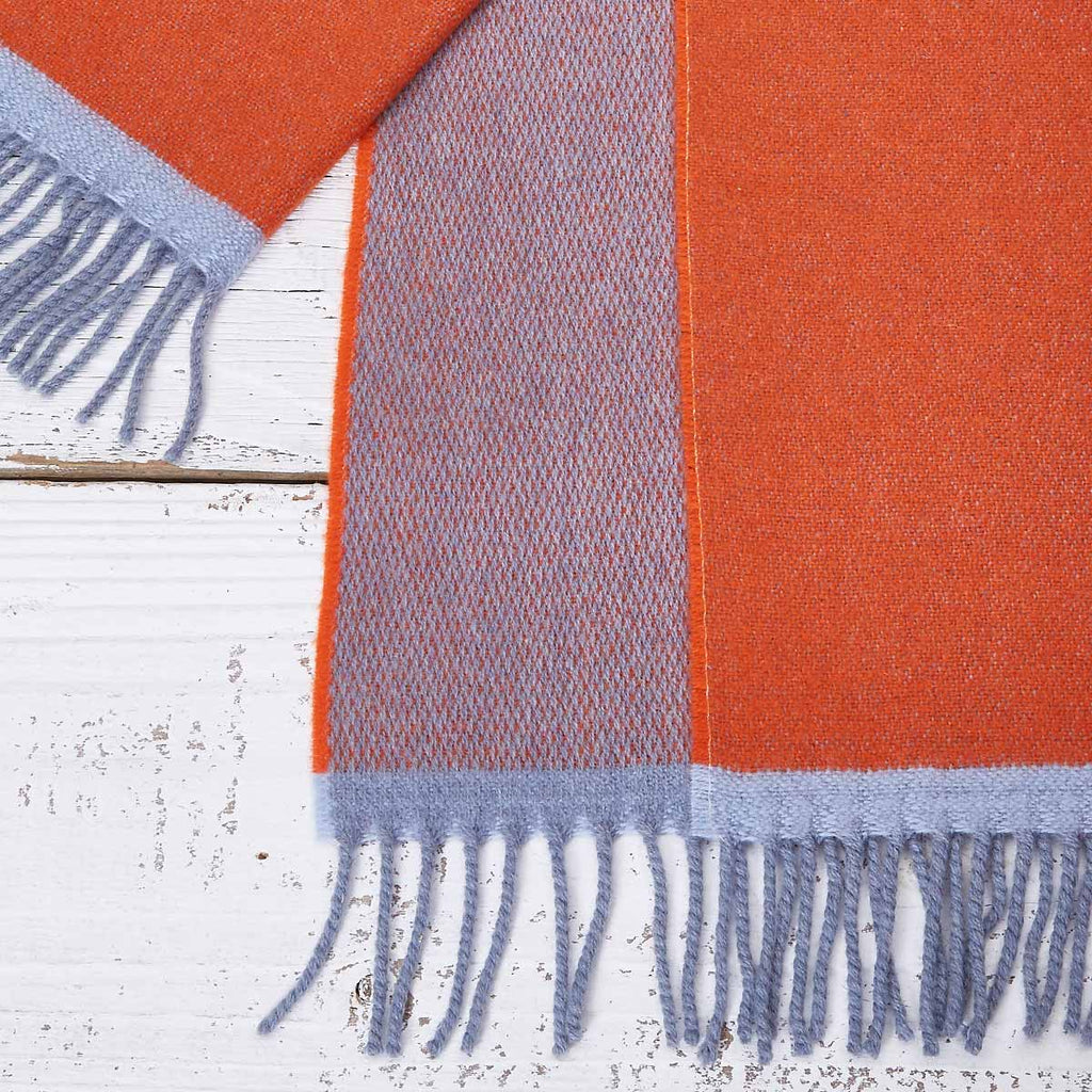 Large Cashmere Mix Orange Scarf - Orange & Shark Grey Reversible
