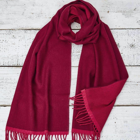 Large Cashmere Mix Red Scarf - Red & Pink Reversible