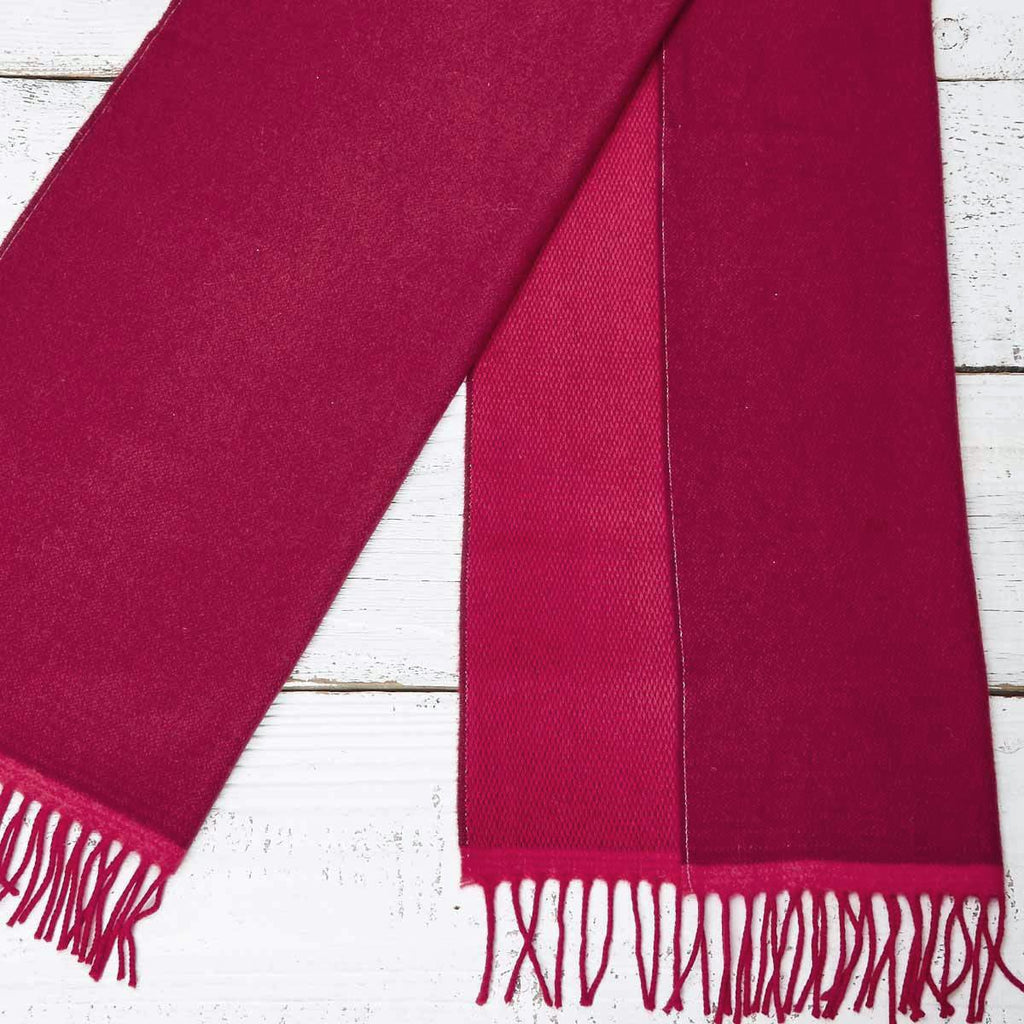 Large Cashmere Mix Red Scarf - Red & Pink Reversible - Tolly McRae