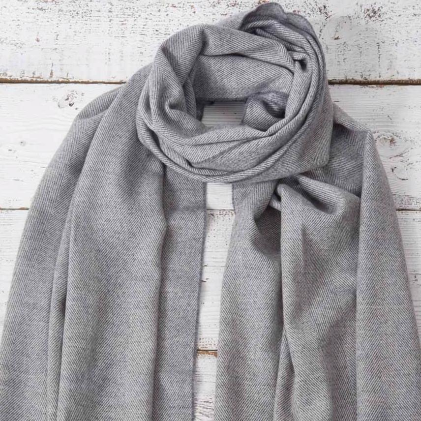 Grey Herringbone  Wrap / Oversized Scarf / Pashmina - Tolly McRae