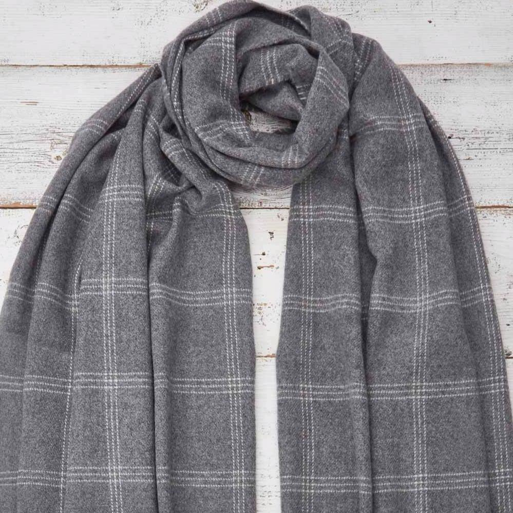 Grey Checked  Wrap / Oversized Scarf / Pashmina - Tolly McRae