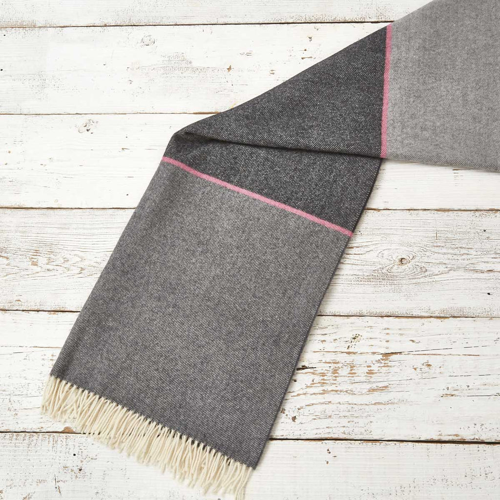 Wrap / Scarf / Pashmina- Grey & Pink Colour Block - Tolly McRae