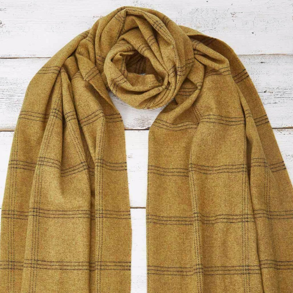 Blanket Scarf / Maxi Wrap - Mustard Check