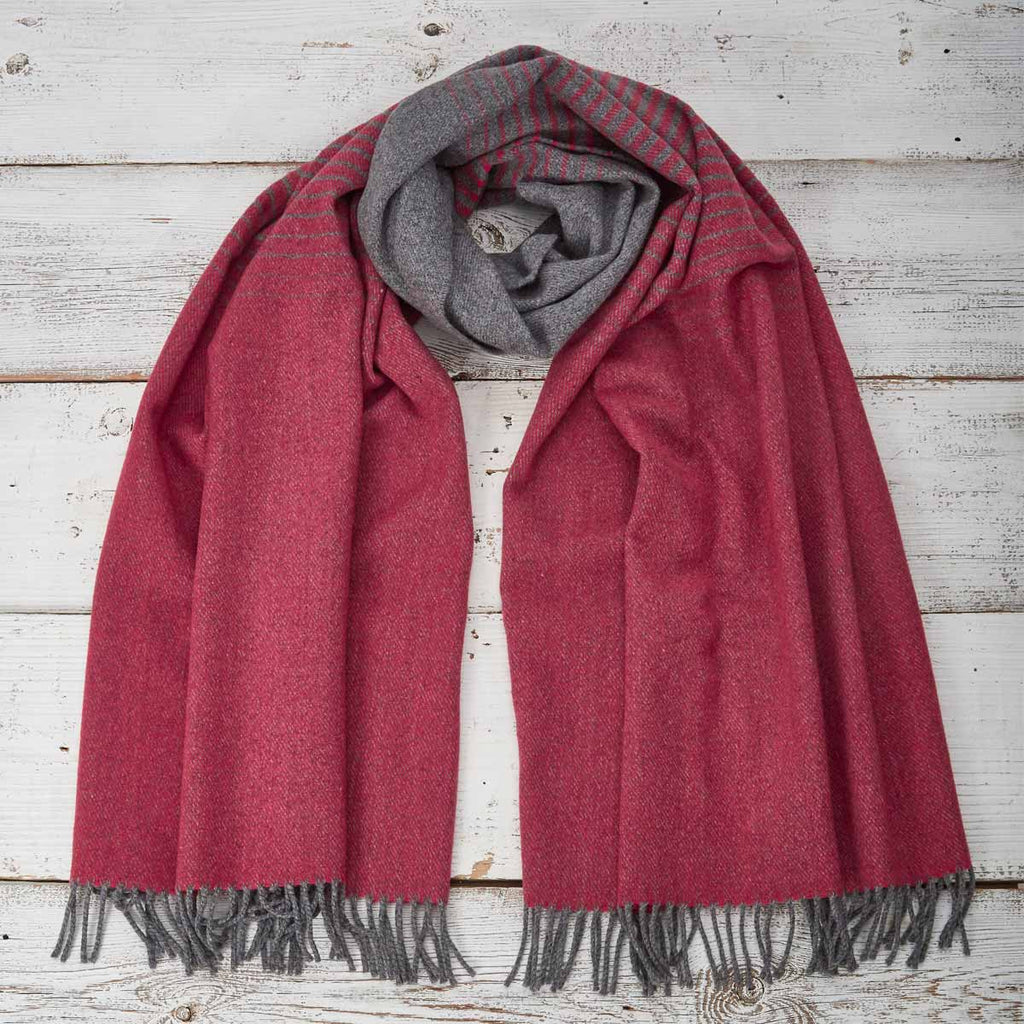 Blanket scarf / Wrap / Pashmina - Red & Grey Ombré Striped