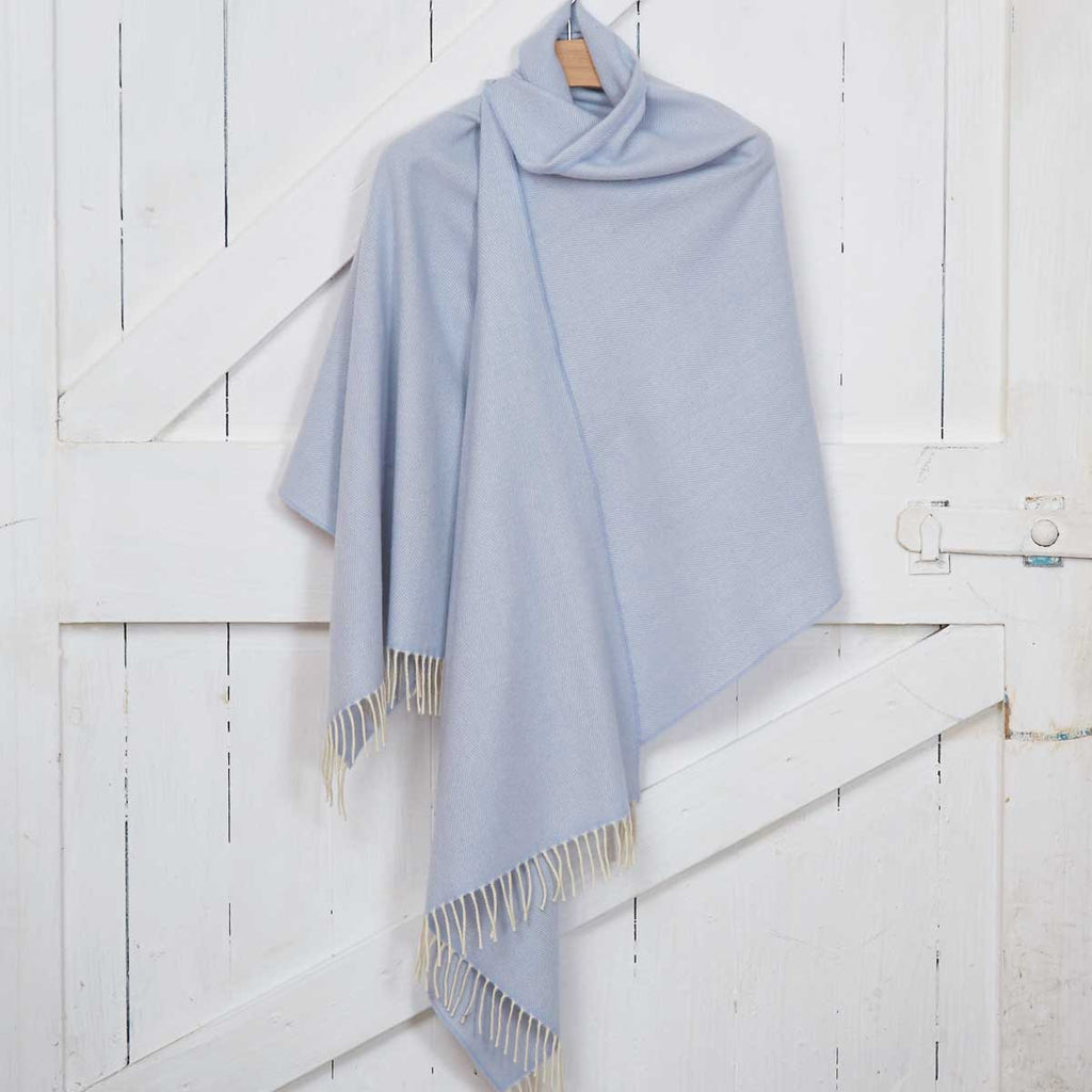 Giant Wrap / Travel Wrap / Pashmina - Pale Blue Cashmere Mix