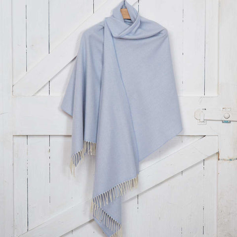 Blanket Scarf / Maxi Wrap / Pashmina - Pale Blue Cashmere Mix - Tolly McRae