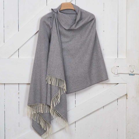 Blanket Scarf / Giant Wrap / Pashmina - Lady Grey Cashmere Mix - Tolly McRae