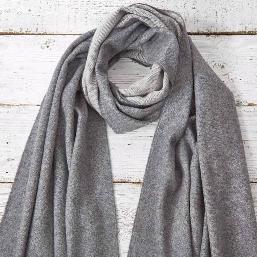 Wrap / Scarf / Pashmina - Light Grey Reversible - Tolly McRae