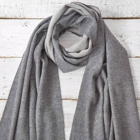 Blanket Scarf / Maxi Wrap / Pashmina - Light Grey Reversible - Tolly McRae