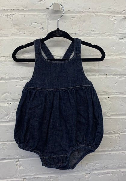 Gap denim bubble romper 3-6m