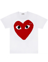 CDG P1T026 PLAY T-SHIRT RED HEART WHITE