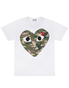 CDG P1T242 PLAY CAMOUFLAGE T-SHIRT WHITE