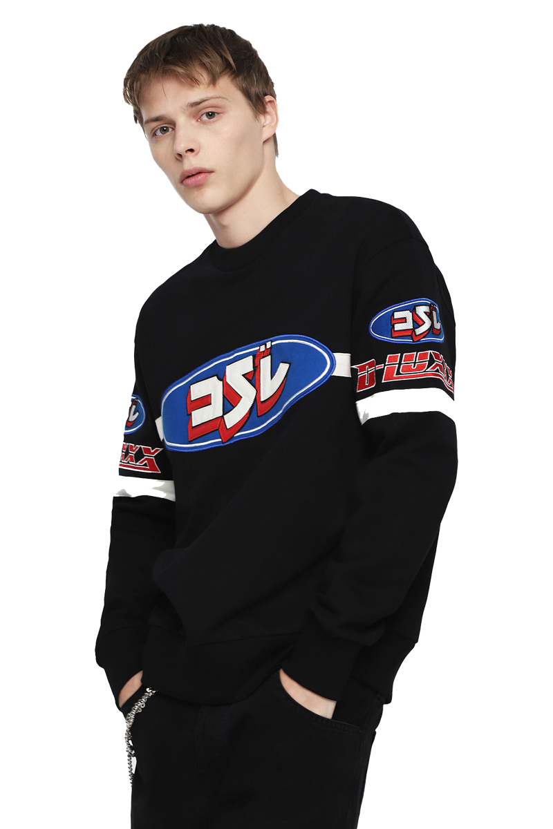 DIESEL S-BAY-YF SWEAT-SHIRT BLACK