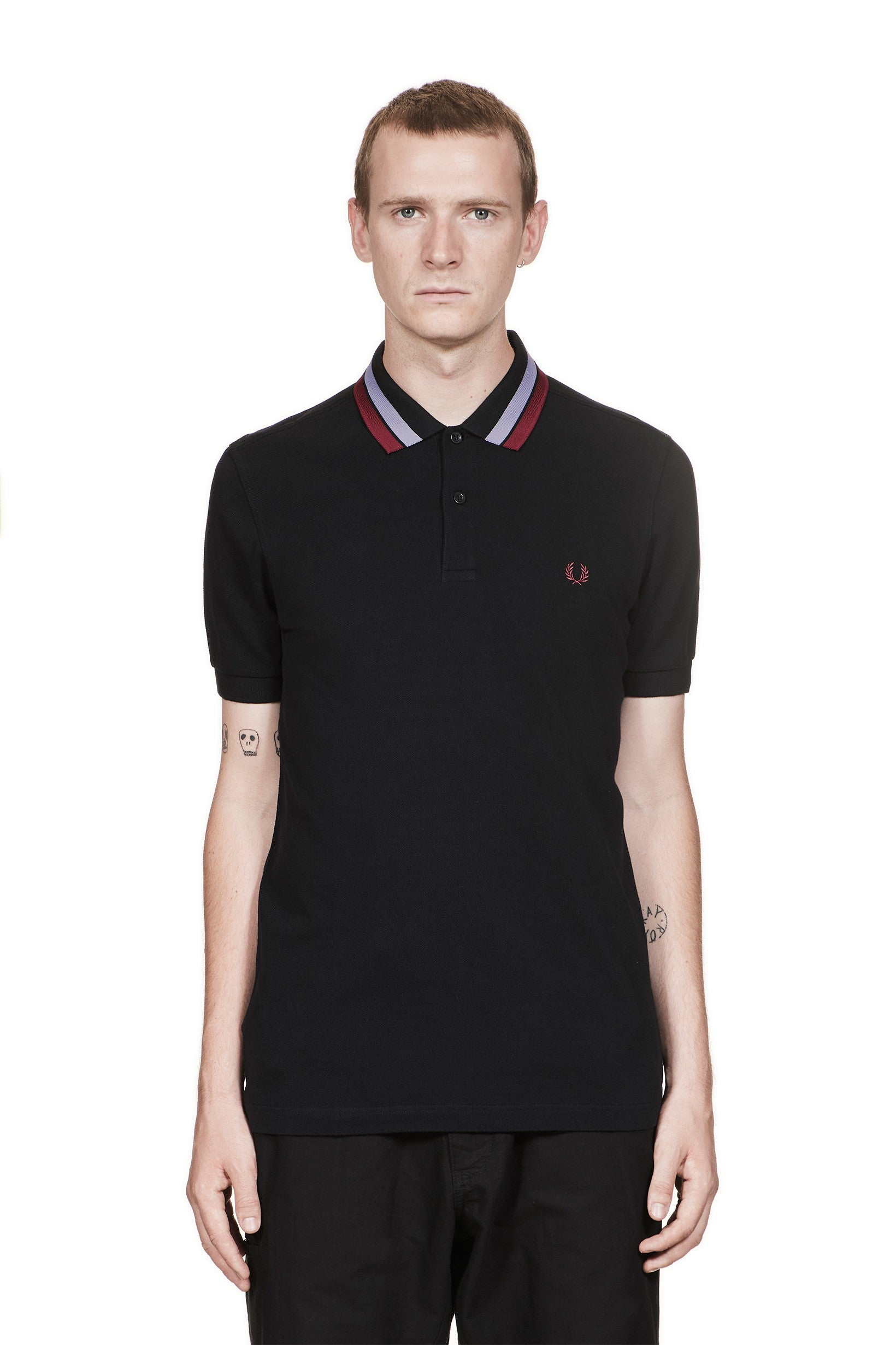FRED PERRY M4528 BOLD TIPPED PIQUE SHIRT IRIS LEAF