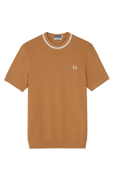 FRED PERRY M5 CREW NECK PIQUE T-SHIRT CARAMEL