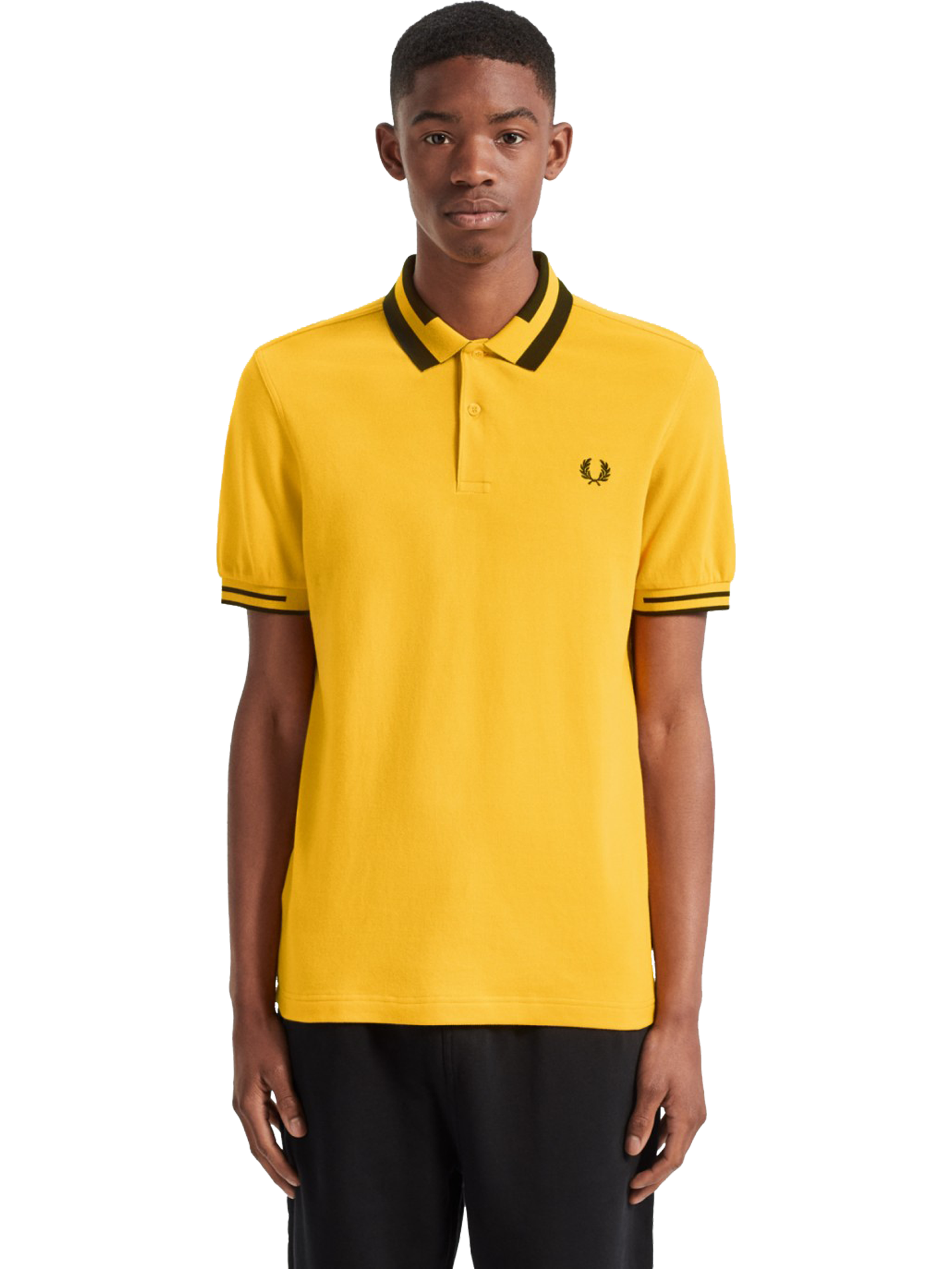 FRED PERRY M7503 BLOCK TIPPED POLO SHIRT SUNGLOW